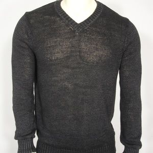 NWT VINCE BLACK KNIT LINEN V-NECK SWEATER M